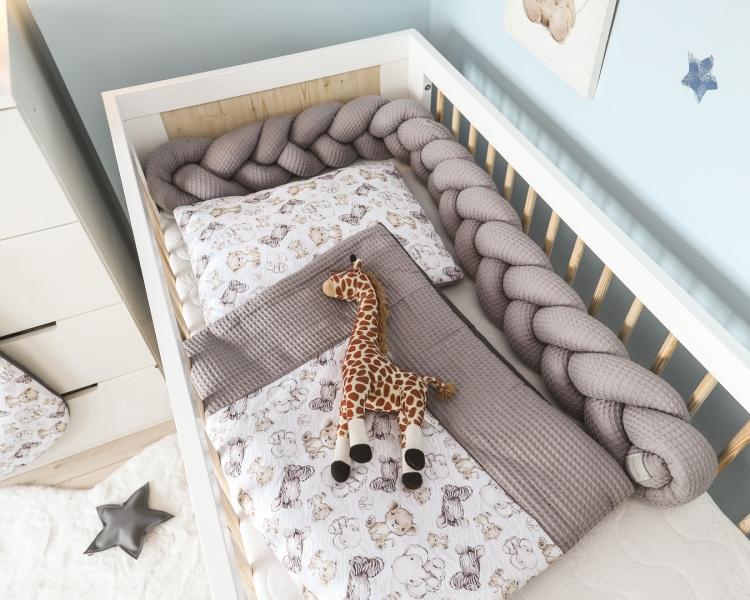 Baby Nellys 2-dílná sada do kočárku, kolébky, hnízdečka, Vafel, 3v1, bavlna LUX, Safari