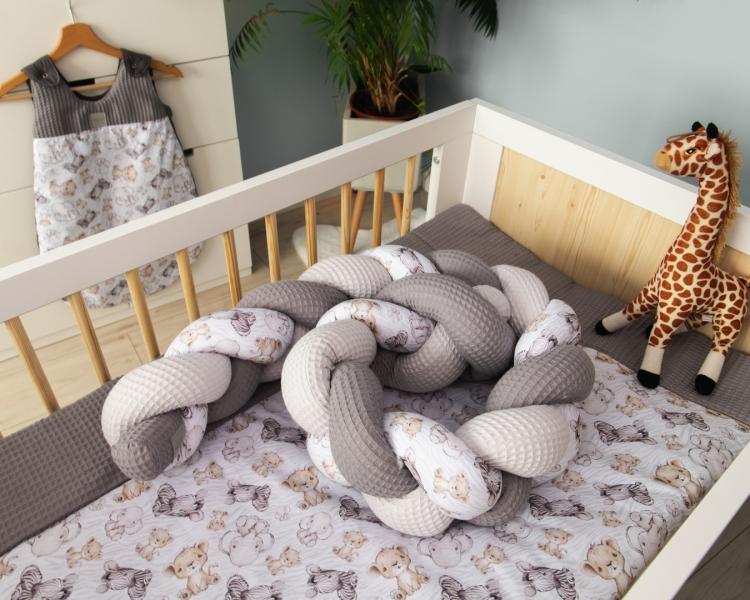 Baby Nellys Mantinel pletený cop Vafel, bavlna LUX, Safari - 320 x 16 cm, Velikost: 320x16