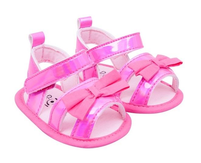 YO ! Capáčky, sandálky lesklé s mašličkou - růžové, 6-12 m