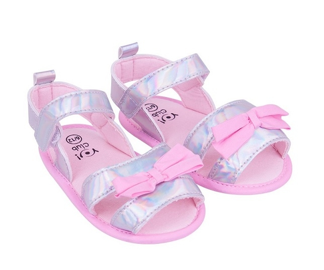 YO ! Capáčky, sandálky lesklé s mašličkou - sv. růžové, šedé, 6-12 m