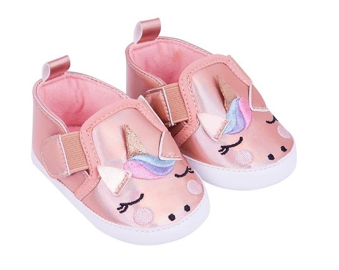 YO ! Kojenecké boty/capáčky Jednorožec - lososové