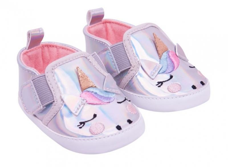 YO ! Kojenecké boty/capáčky Jednorožec - šedé