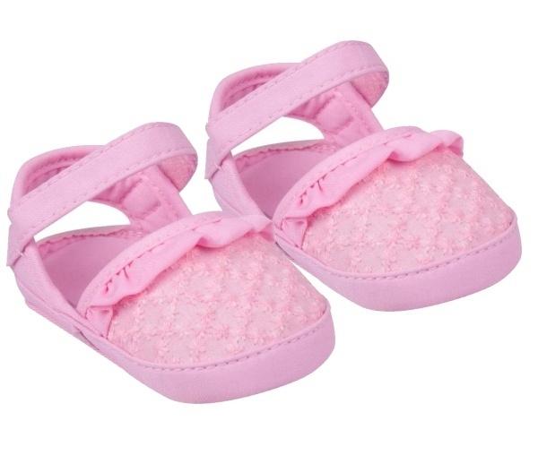 YO ! Capáčky, sandálky s volánkem, růžové, 6-12 m