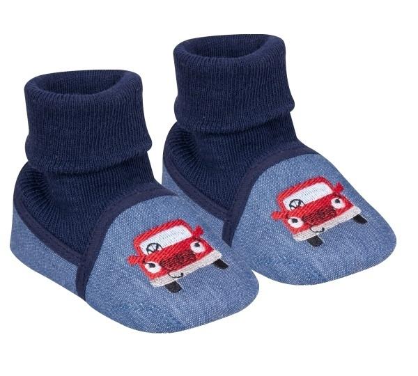 YO ! Kojenecké boty/capáčky Autíčko, modré, granátové