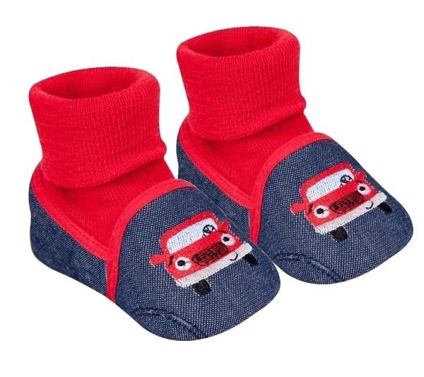 YO ! Kojenecké boty/capáčky Autíčko, černé, červené