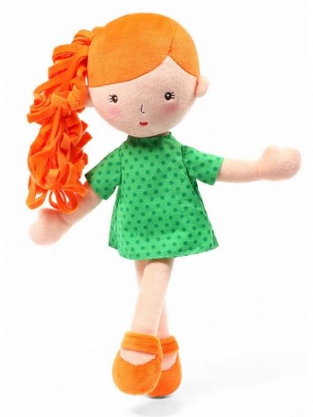 BabyOno Látková panenka Hannah - oranžová/zelená