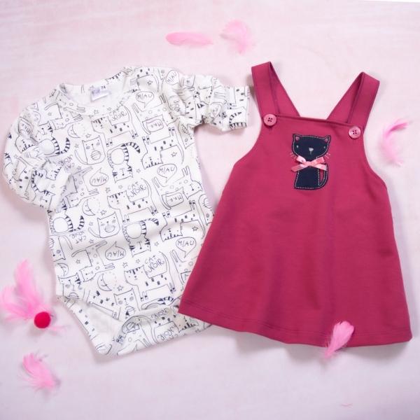 K-Baby 2-dílná souprava Body dl. rukáv a láclové šatičky Kočička, bordó, vel. 86, Velikost: 86 (12-18m)