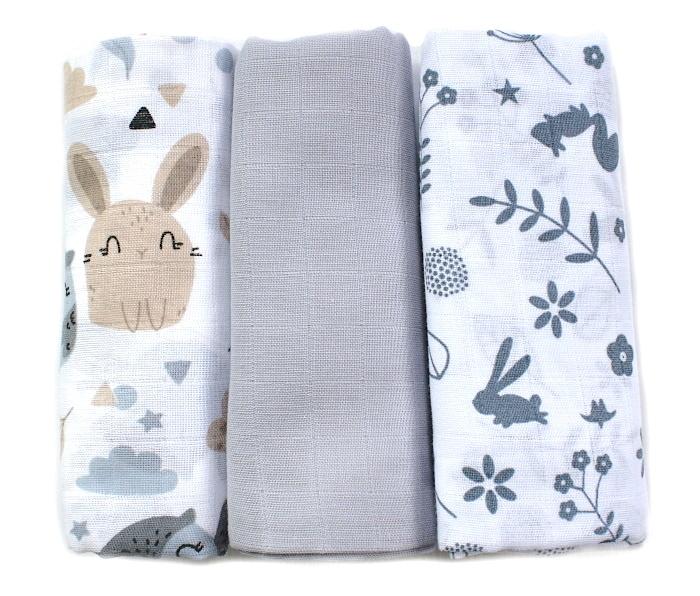 Baby Nellys Mušelínové pleny 3ks Lux - Zajíčci , 70 x 80 cm, šedá