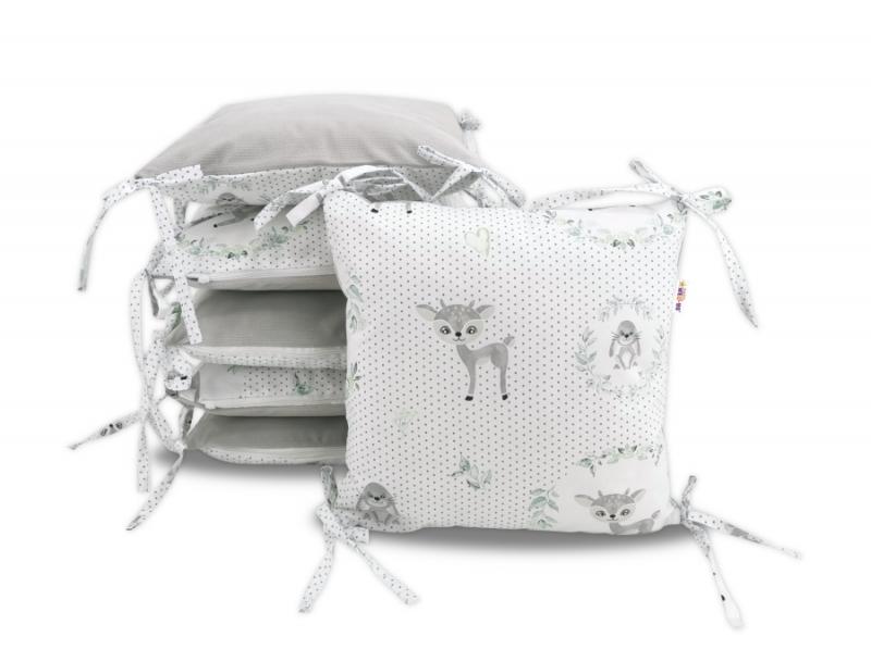 Polštářkový mantinel Baby Nellys, Koloušek, velvet+bavlna - šedá