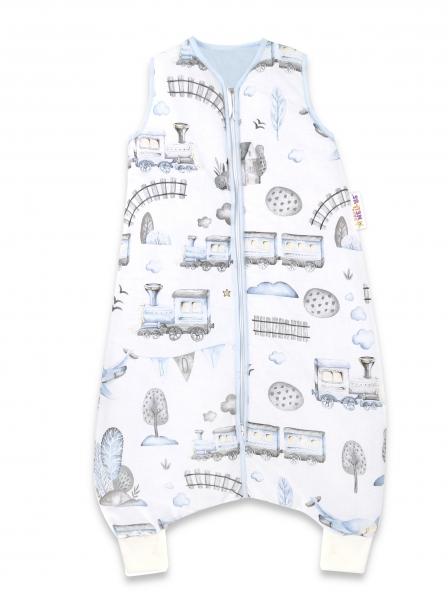 Baby Nellys, Spací vak s nohavičkami Vláček, 90 cm - modrá