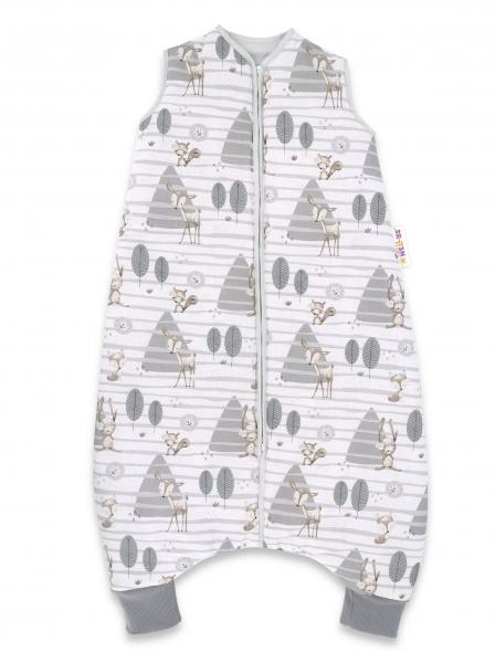 Baby Nellys, Spací vak s nohavičkami Zvířátka v lese, 90 cm - šedá