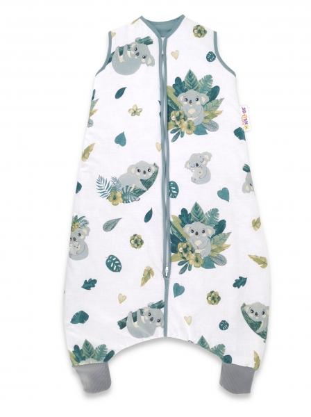 Baby Nellys, Spací vak s nohavičkami Tropical Coala, 90 cm - bílá