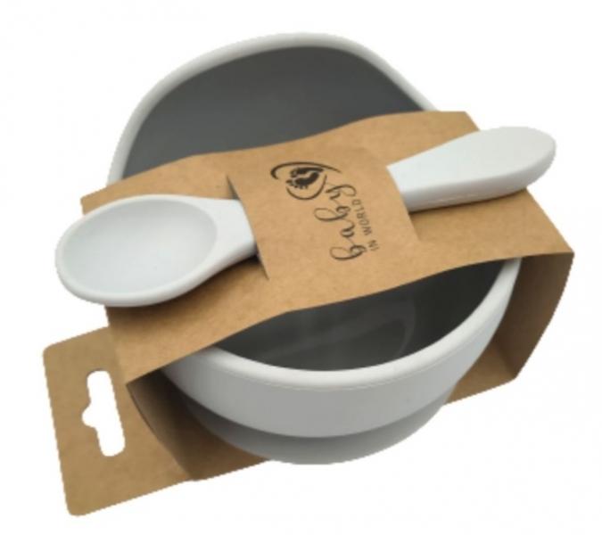 Baby in World Silikonová miska s přísavkou a lžičkou - sv. šedá