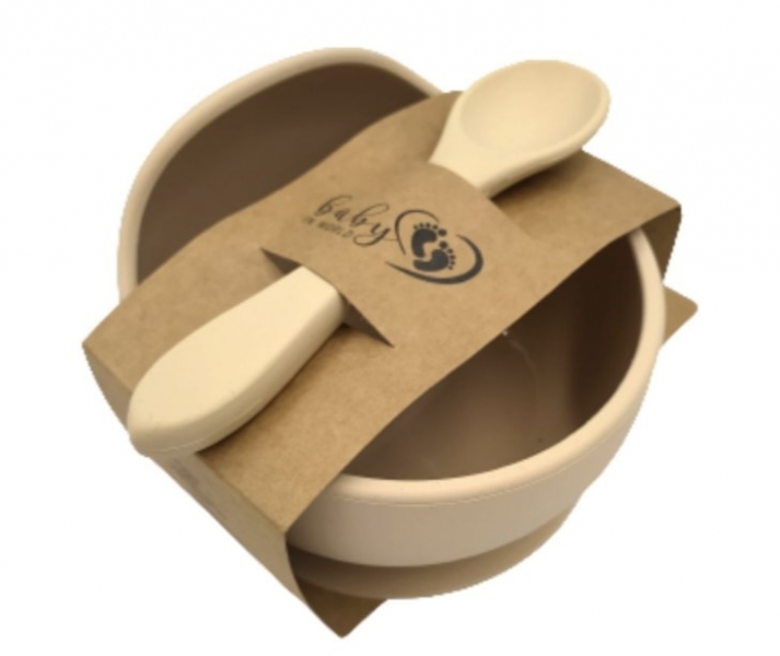 Baby in World Silikonová miska s přísavkou a lžičkou - písková