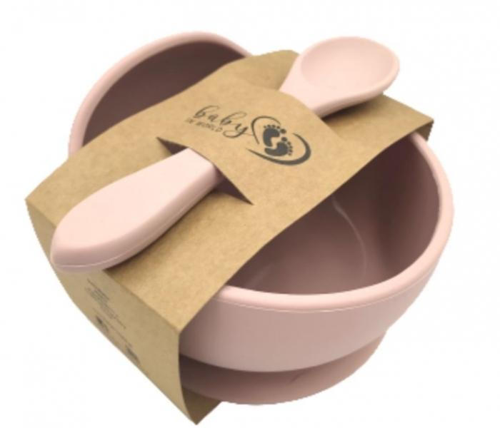 Baby in World Silikonová miska s přísavkou a lžičkou - sv. růžová