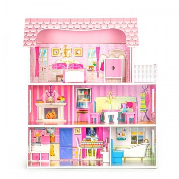 Dřevěný domeček pro panenky  ECO TOYS - Rezidence růže