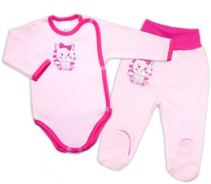 G-baby 2-dílná kojenecká sada Kočička - růžová, vel. 62
