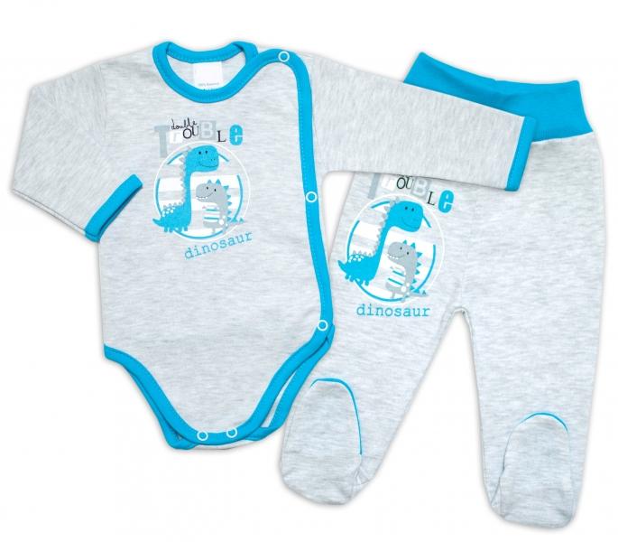 G-baby 2-dílná kojenecká sada Dino - šedá, vel. 68