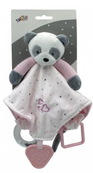 Tulilo Přítulníček, mazlík  s chrastítkem a kousátkem Medvídek Panda, - růžový