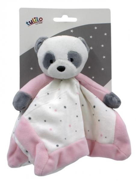 Tulilo Přítulníček, mazlík Medvídek Panda - růžový, 25 x 25 cm