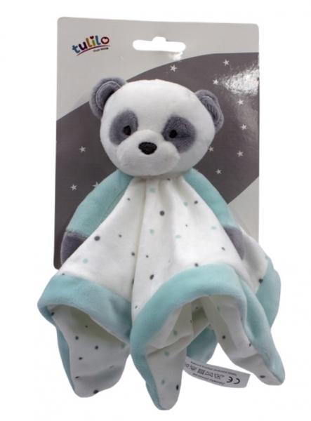 Tulilo Přítulníček, mazlík Medvídek Panda - tyrkysový, 25 x 25 cm
