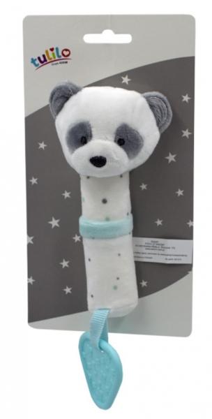 Tulilo Plyšová hračka s pískátkem a kousátkem Medvídek Panda, 16 cm - tyrkysový