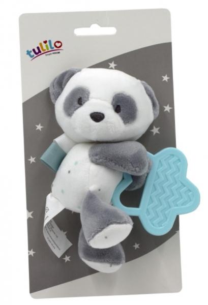 Tulilo Plyšová hračka s kousátkem Medvídek Panda, 15 cm - tyrkysový
