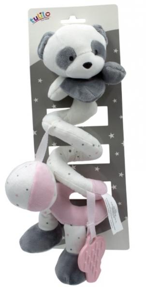 Tulilo Plyšová spirála  s chrastítkem a kousátkem Medvídek Panda, 25 cm - růžová