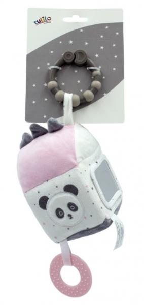 Tulilo Závěsná edukační plyšová kostka se zrcátkem - Medvídek Panda, růžová