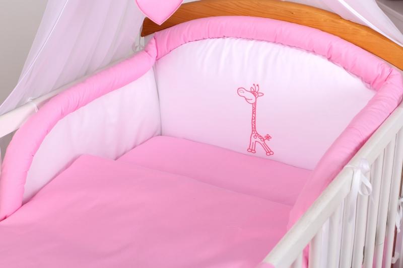 10-ti dílný set Žirafka - Růžová (Rozměr: 120x90cm - do postýlky