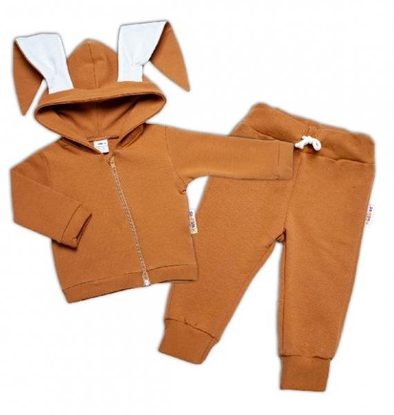 BABY NELLYS Dětská tepláková souprava s kapucí a oušky, Cute Bunny -  karamelová, vel. 86