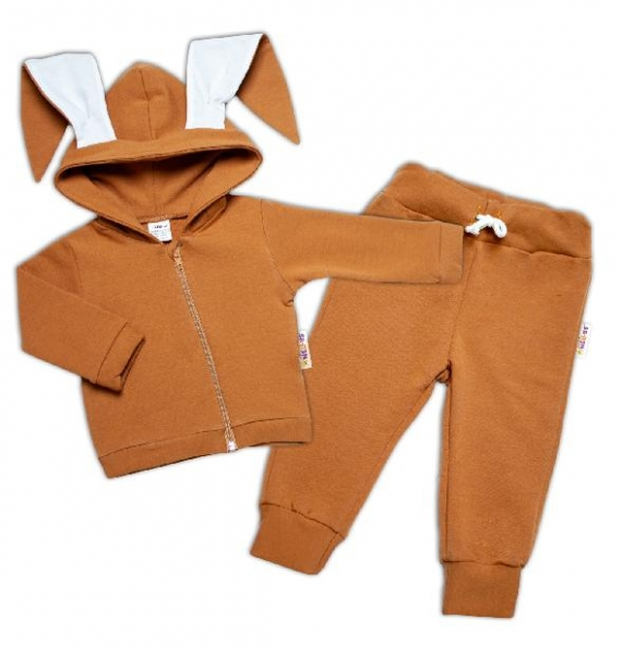 BABY NELLYS Dětská tepláková souprava s kapucí a oušky, Cute Bunny -  karamelová, vel. 92