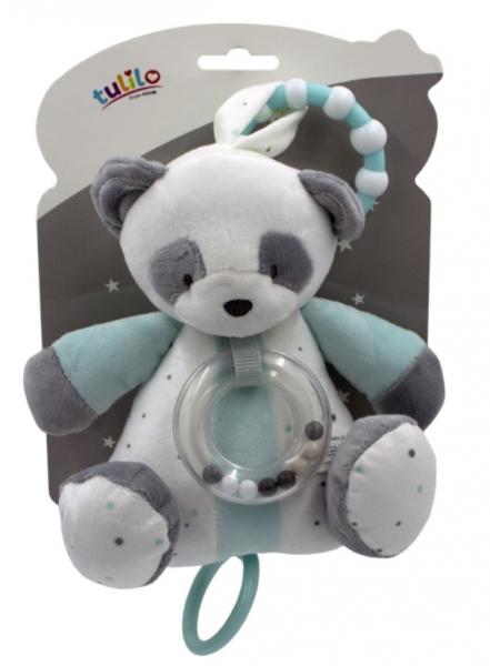 Tulilo Závěsná plyšová hračka s chrastítkem Medvídek Panda, 18 cm - tyrkysový