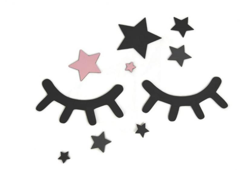 Adam Toys Dekorace na zeď - Spící očka s hvězdičkami, růžové
