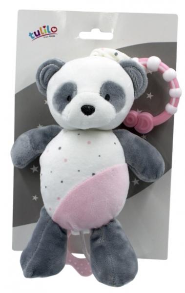 Tulilo Závěsná plyšová hračka  s melodií Medvídek Panda, 24 cm - růžový