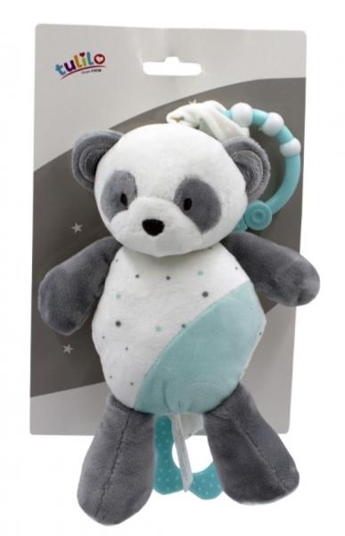 Tulilo Závěsná plyšová hračka  s melodií Medvídek Panda, 24 cm - tyrkysový