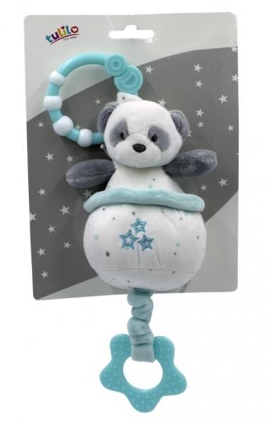 Tulilo Závěsná plyšová hračka  s melodií Medvídek Panda, 13 cm - tyrkysový
