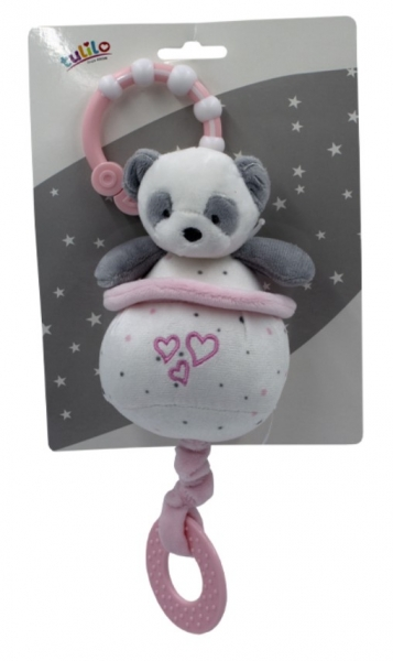 Tulilo Závěsná plyšová hračka  s melodií Medvídek Panda, 13 cm - růžový