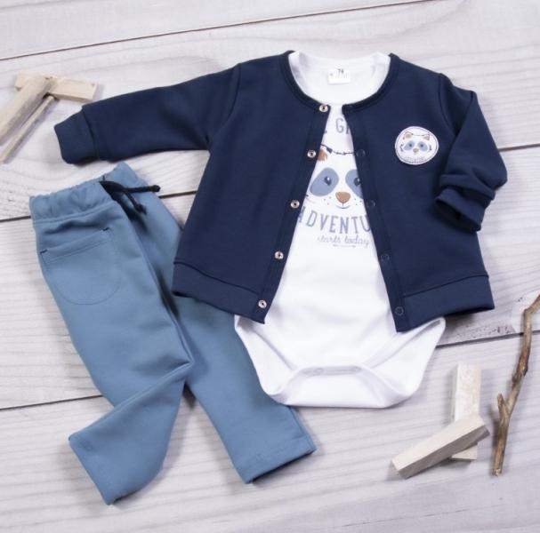 K-Baby 3-dílná sada, body kr. rukáv, kabátek, tepláčky, Mýval, granát, bílá, petrolej., 74