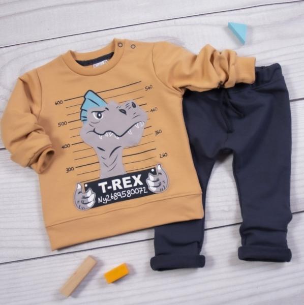K-Baby Tepláková souprava T-Rex, hnědá, granát, Velikost: 80 (9-12m)