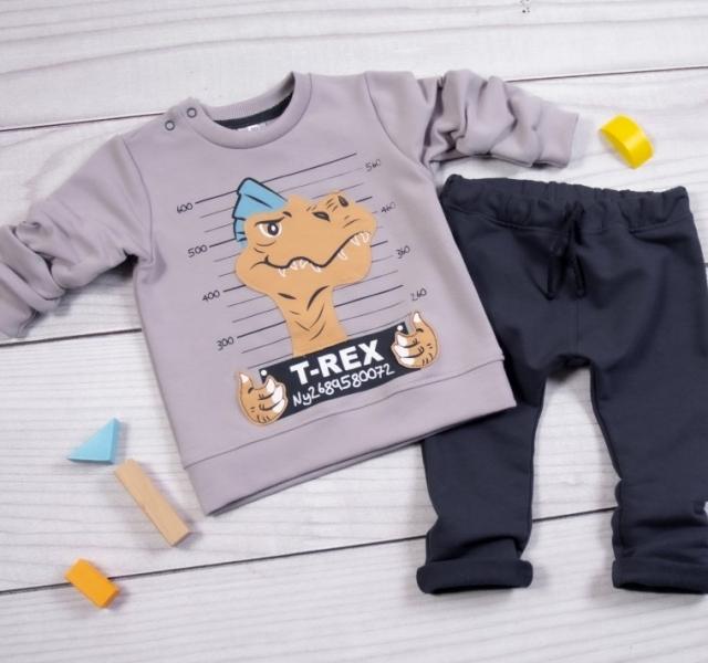 K-Baby Tepláková souprava T-Rex, šedá, granát, vel. 86, Velikost: 86 (12-18m)
