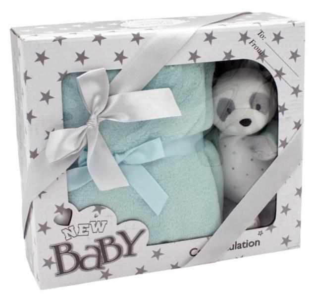 Tulilo Dětská sada deka + plyšová hračka Medvídek Panda - tyrkysová