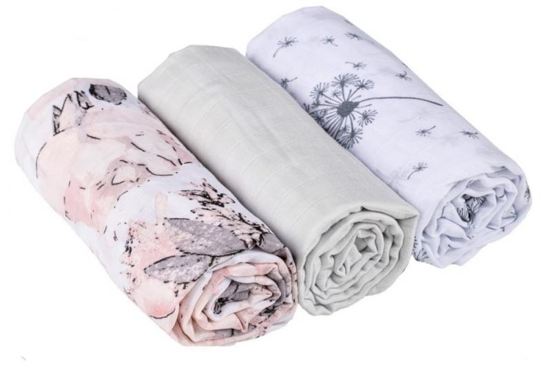 Baby Nellys Mušelínové pleny 3ks Lux - Pampelišky, květy, 70 x 80 cm, šedá/růžová/bílá