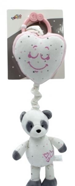 Tulilo Závěsná plyšová hračka s melodií Medvídek Panda - růžová