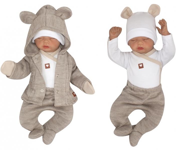 Z&Z 5-dílná kojenecká soupravička pletená do porodnice - béžová, bílá