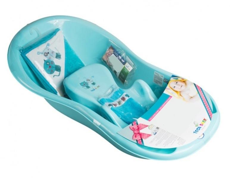 Tega Baby sada na koupání - vanička, lehátko, osuška, žinka Pejsek a kočička, modrá
