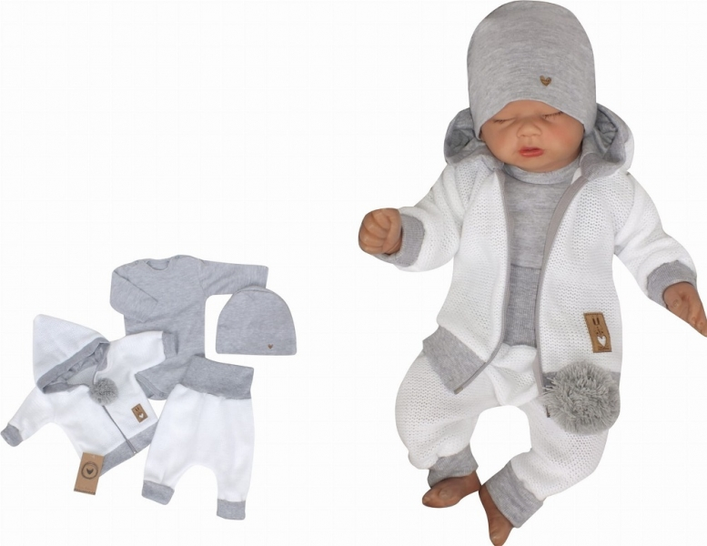 Z&Z 4-dílná pletená soupravička, kabátek, tepláčky, čepička a body, bílá-šedá, vel. 62