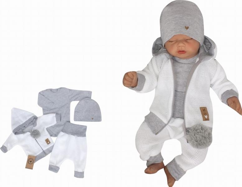 Z&Z 4-dílná pletená soupravička, kabátek, tepláčky, čepička a body, bílá-šedá, vel. 86