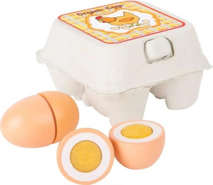 Small Foot Dřevěná vajíčka v krabičce na suchý zip 4 ks