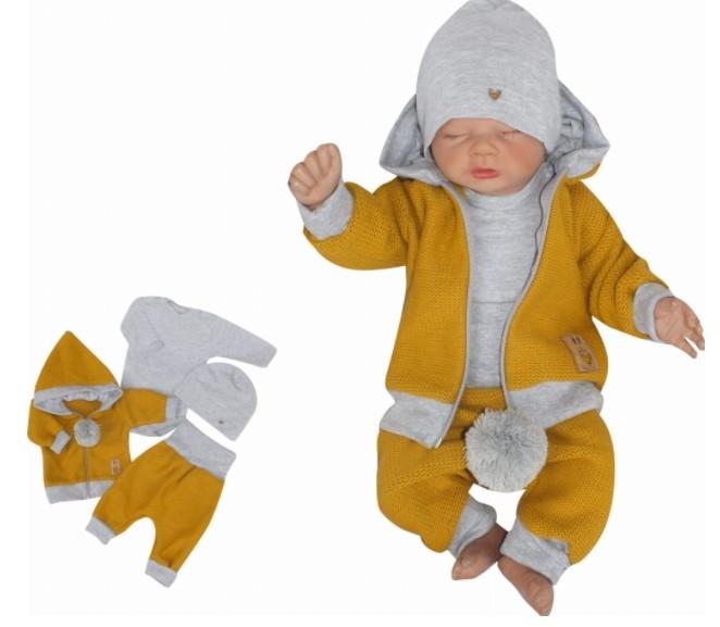 Z&Z 4-dílná pletená soupravička, kabátek, tepláčky, čepička a body, hořčicová-šedá